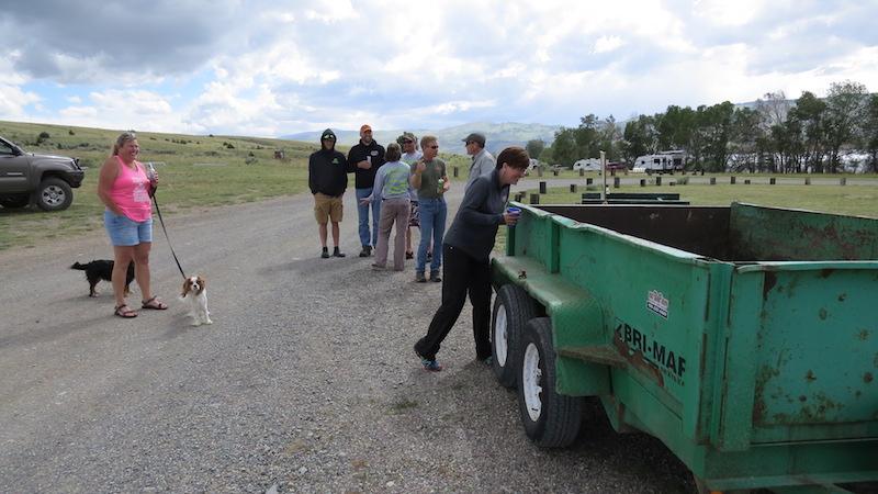 Mandy Garness takes a peek in the carp trailer