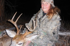 Merri Clapham with a  nice 4x4 wt. buck