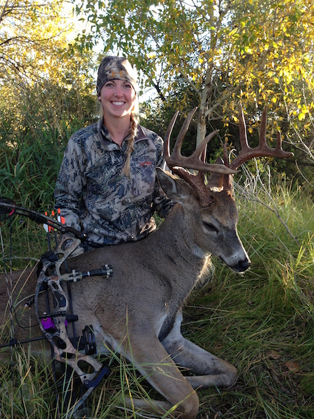 Kara Jensen September 19 big 5pt whitetail 20 yard double lung