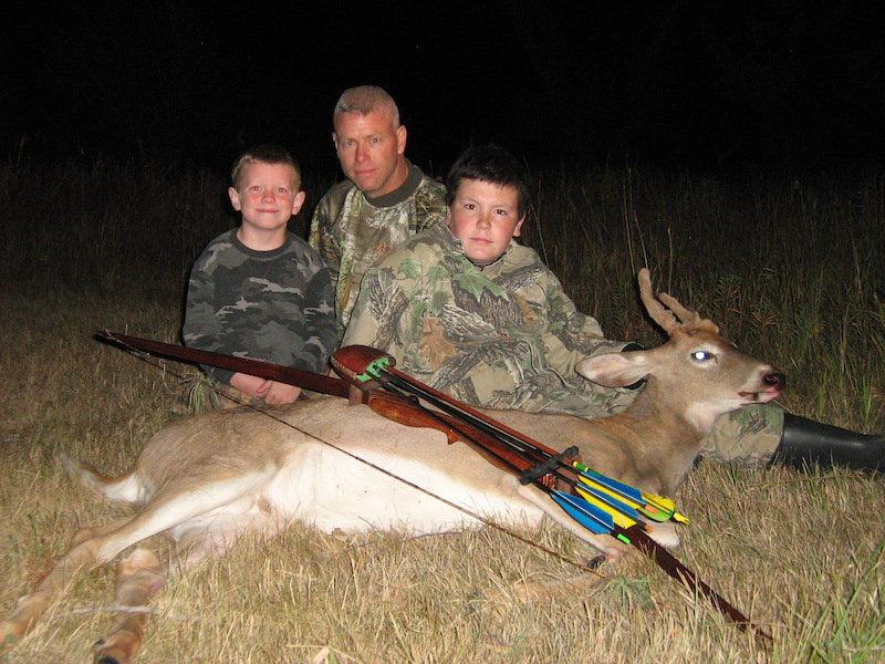 Ben Rayner first archery harvest 25 yard shot with a bow made by Brian