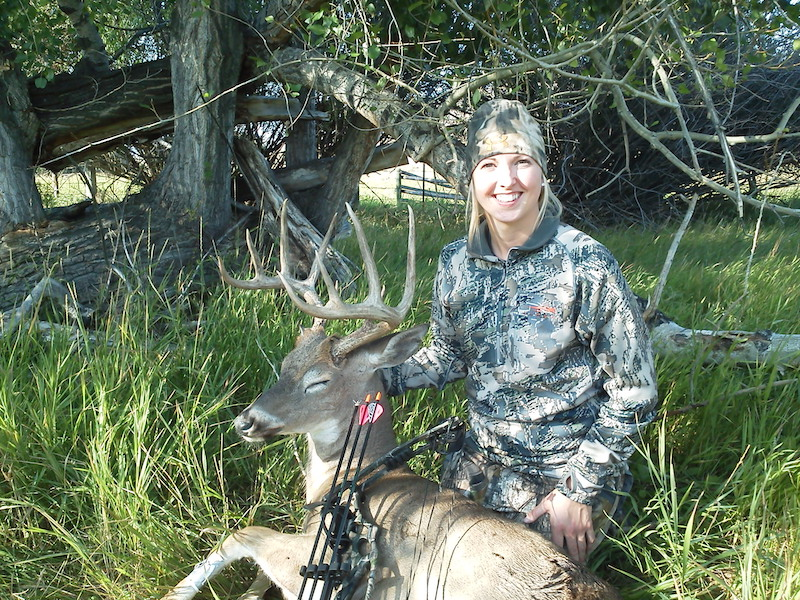 Kara Koelzer with her first bowkill September3 2012 8 yrd shot 140 inch buck