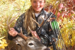 Darby McAdams 2012 Jr Member 14 years old first bow harvest. She built her own blind by, her self and one arrow from 25 yards. 80 yards recovery